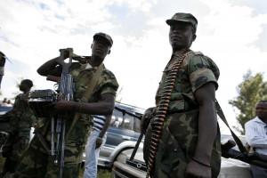 Il Generale Laurent Nkunda capo dei ribelli del CNDP durante un meeting a Rutshuru in Congo