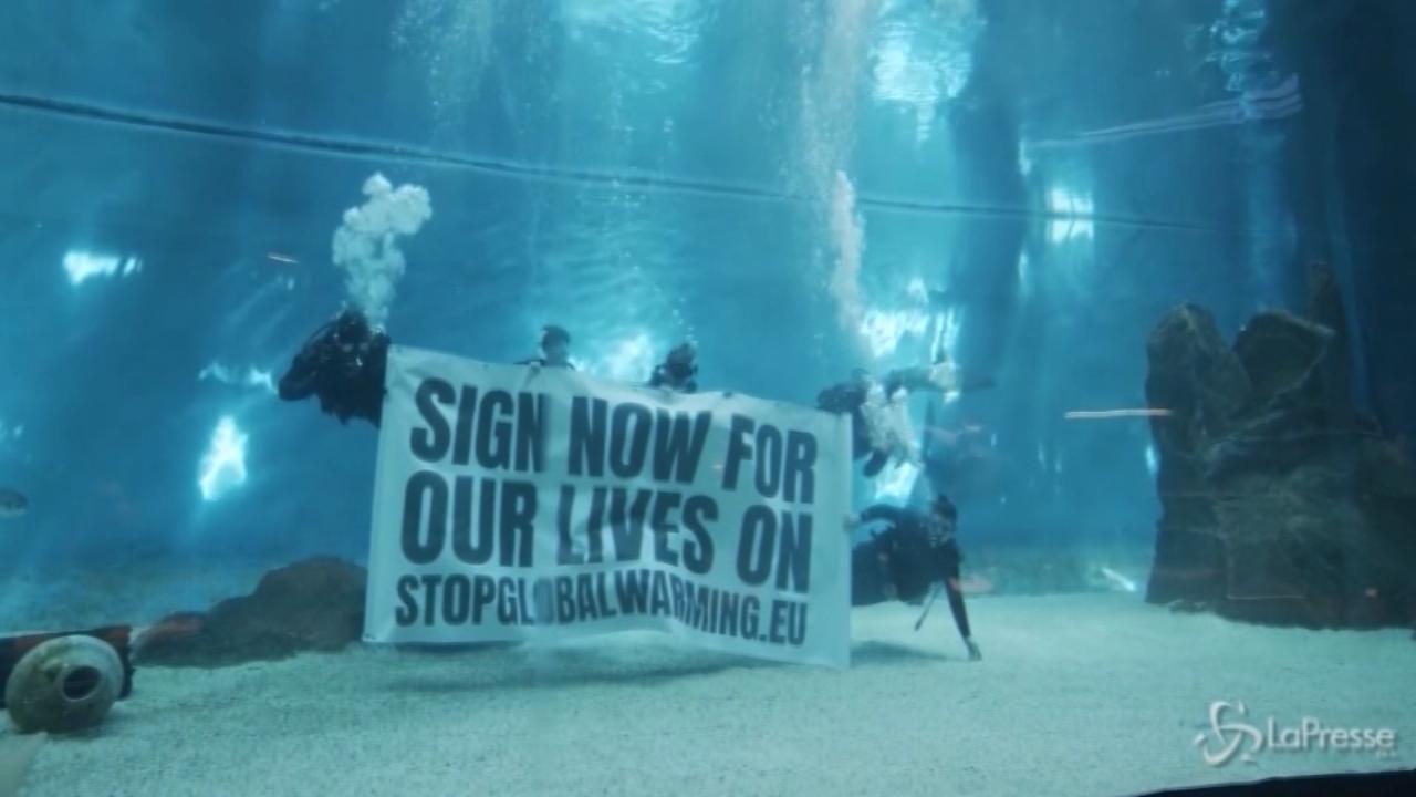 Flash mob sott'acqua contro il riscaldamento globale a Genova
