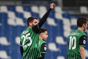 Domenico Berardi (U.S.Sassuolo) esulta dopo aver realizzato il gol 2-1