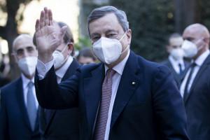 Arrivo del presidente del consiglio Mario Draghi