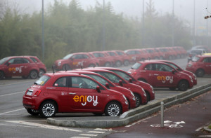 Milano, auto Enjoy posteggiate davanti al Centro Sportivo Saini