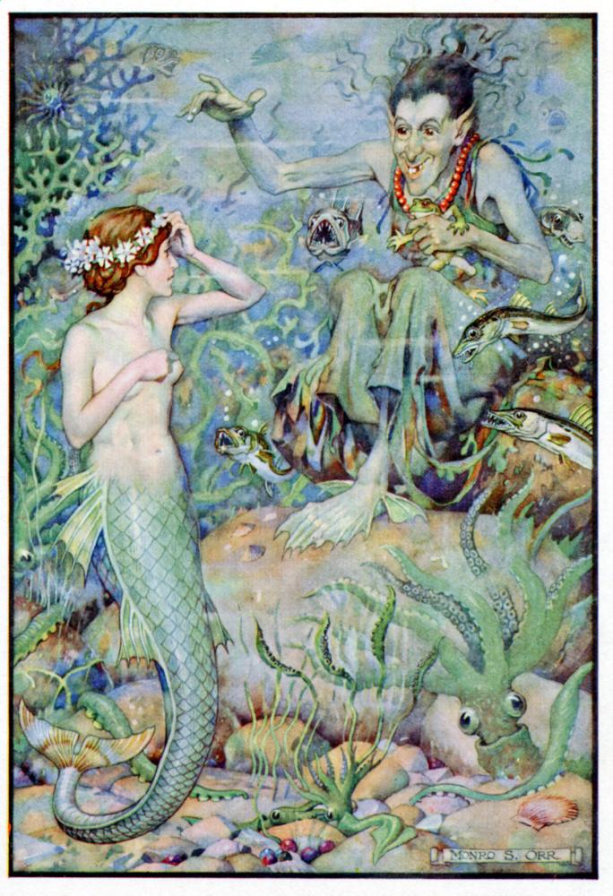 """Illustrazione della """"La Sirenetta"""". Il personaggio della fiaba di Hans Christian Andersen in visita alla strega del mare per un incantesimo."""