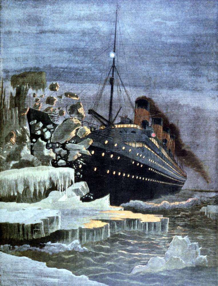Illustrazione dell'impatto del transatlantico Titanic con il grosso l'iceberg