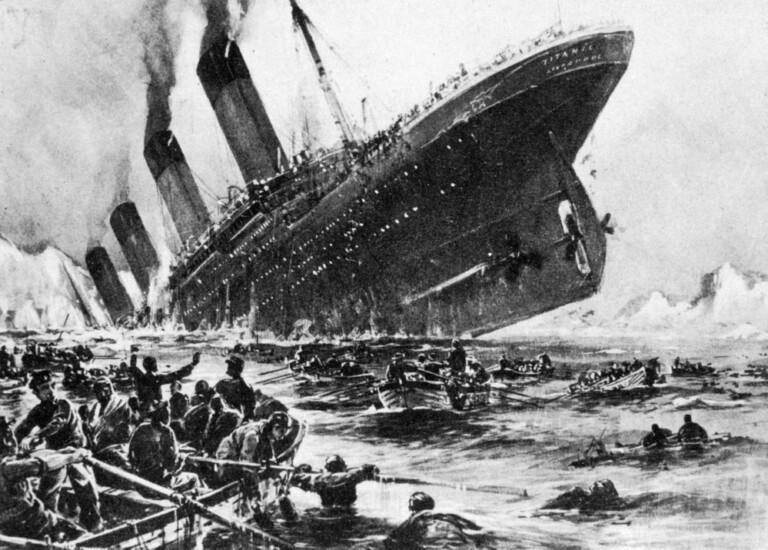 Illustrazione storica dell'affondamento della SS TITANIC