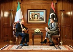 Mario Draghi incontra il premier del governo di unità nazionale libico, Abdulhamid Dbeibah