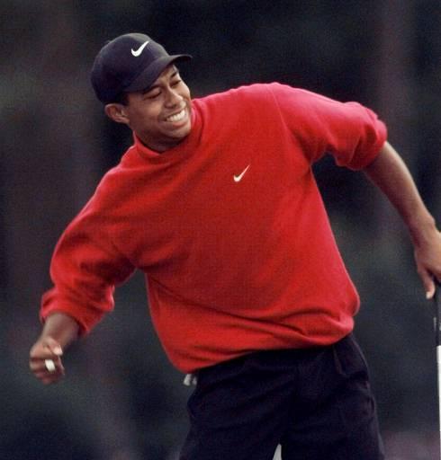 Tiger Woods festeggia la vittoria del torneo di golf Masters