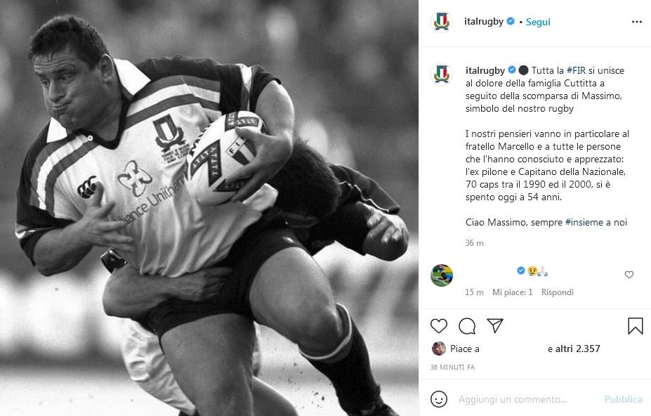 Rugby, Fir: morto a 54 anni ex capitano azzurro Cuttitta