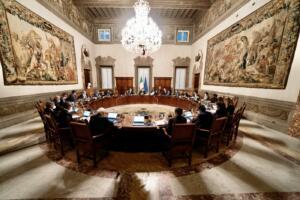 Palazzo Chigi, il Presidente del Consiglio Mario Draghi al Consiglio dei Ministri