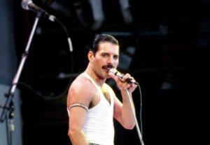 Freddie Mercury, durante il concerto Live Aid