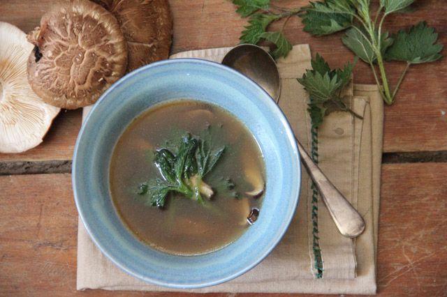 Earth Day soup con ortiche e funghi shitake