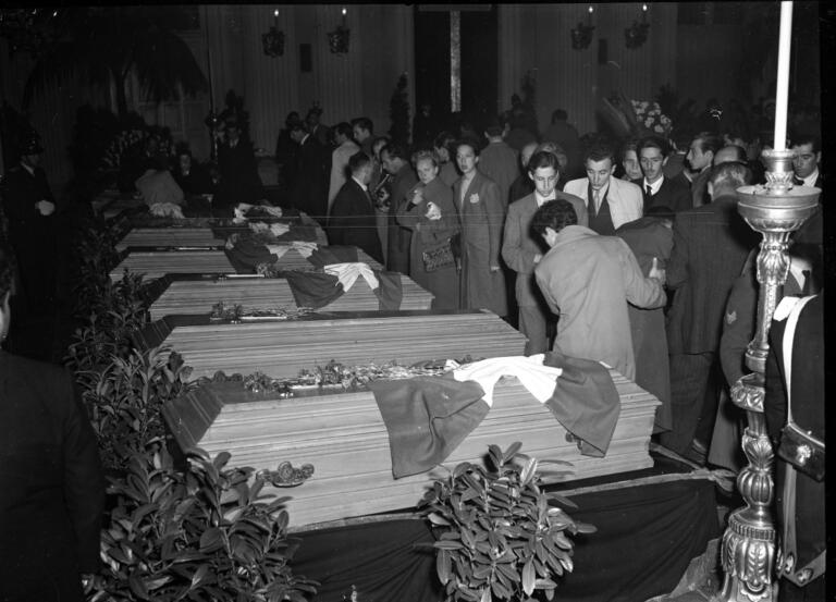 Funerale dei giocatori del Torino morti nella tragedia di Superga.