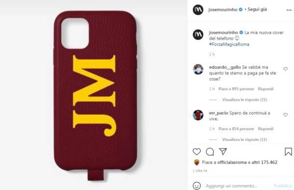 Mourinho sui social: Ecco mia nuova cover giallorossa telefonino
