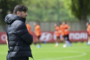 Europa League, sessione di allenamento dell'AS Roma a Trigoria