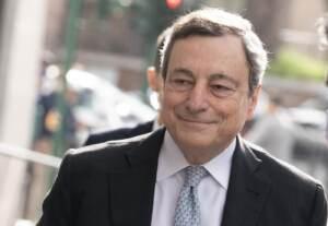 Presidente Mario Draghi arriva all'Auditoriun della conciliazione
