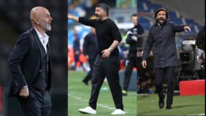 Volata Champions, Pioli, Gattuso, Pirlo