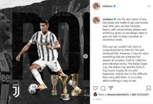 """Juve, il post di Ronaldo su Instagram sa di addio: """"Grazie per questo viaggio, vinto tutto anche in Italia"""""""