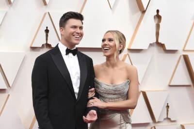 colin-jost, scarlett-johansson durante gli Oscar 2020