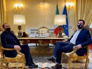 Roma, incontro tra Matteo Salvini e Silvio Berlusconi