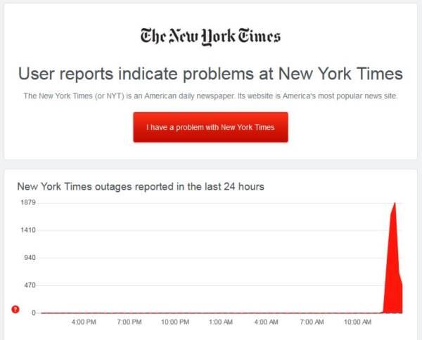 Siti di media e big company in blackout: da New York Times e Cnn, ad Amazon e Twitch. Ora di nuovo raggiungibili