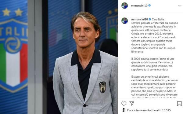Mancini: lettera agli italiani per Euro2020