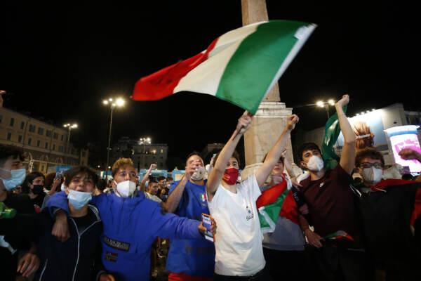 Euro 2020 - Turchia vs Italia - La Fan Zone in piazza del Popolo: l'esultanza dei tifosi dell'Italia