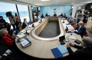 Il presidente del consiglio Mario Draghi al secondo giorno del vertice G7