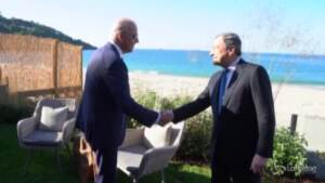 G7, mezz'ora di colloquio tra Draghi e Biden