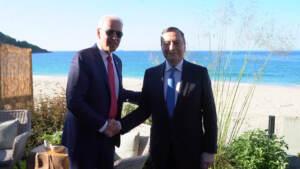 """G7, Draghi: """"Bilaterale con Biden andato molto bene"""""""