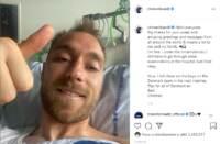 Eriksen dal letto di ospedale col pollice alzato