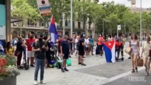 Barcellona, protesta anti-regime di fronte al consolato cubano