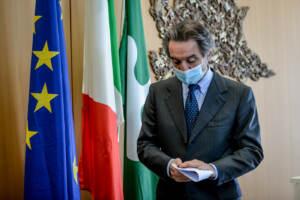 Milano, punto stampa di Attilio Fontana su situazione vaccini contro il covid 19 in Lombardia