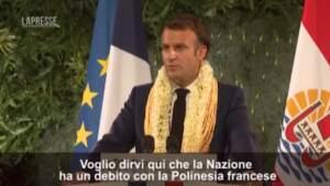 """Macron alla Polinesia: """"Verità sui test nucleari"""""""