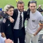 La famiglia Beckham in tribuna allo stadio pe rla prima partita degli Inter Miami