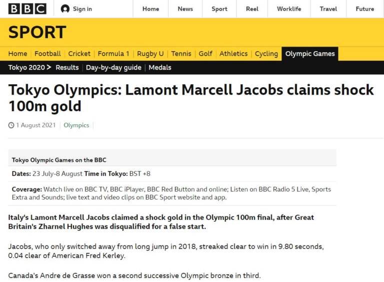 Homepage BBC su Jacobs