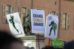 Greta Thunberg durante il Friday For Future in Piazza Castello a Torino