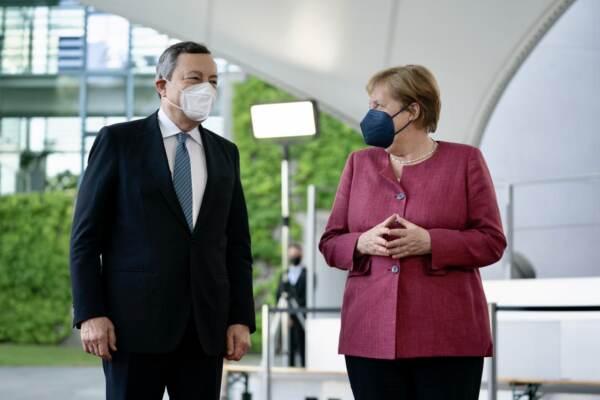 Berlino, presidente Mario Draghi incontra la cancelliera Angela Merkel
