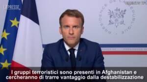 """Afghanistan, Macron: """"Non può diventare nuovamente il santuario del terrorismo"""""""
