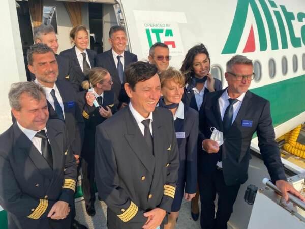 L'equipaggio del volo ITA per certificazione ENAC