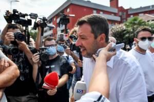 Segretario della Lega, Matteo Salvini, incontra i residenti delle case popolari del quartiere Ponte Lambro