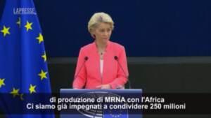 """Vaccini, von der Leyen: """"Altre 200 milioni di dosi anticovid all'Africa"""""""