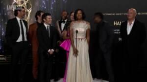 Emmy 2021, i protagonisti di 'Hamilton' sul palco per la premiazione