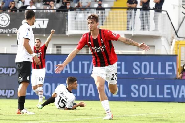 Il Milan batte 2-1 lo Spezia: in gol Daniel Maldini all'esordio da titolare